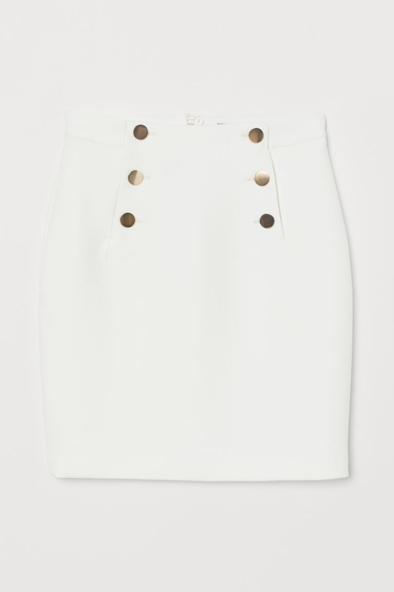 Knee-length skirt - Cream - Ladies | H&M IE