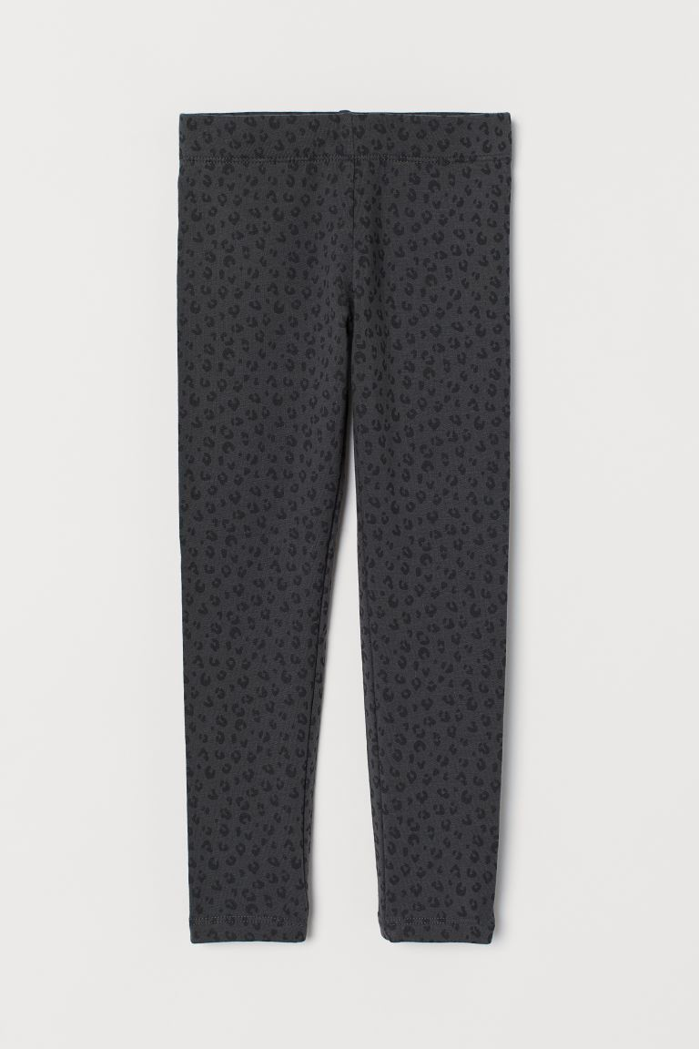 Leggings with Brushed Inside - Dark gray/leopard print - Kids | H&M CA