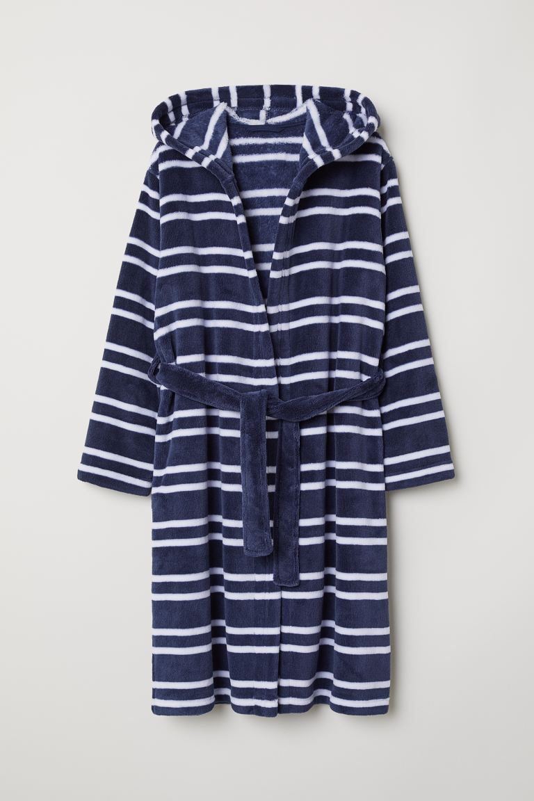 Fleece dressing gown - Dark blue/Striped -  | H&M