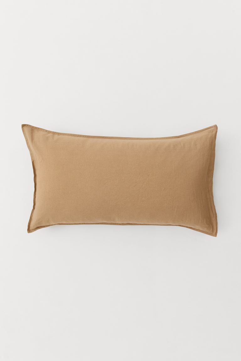Washed Linen Pillowcase - Dark beige - Home All | H&M US