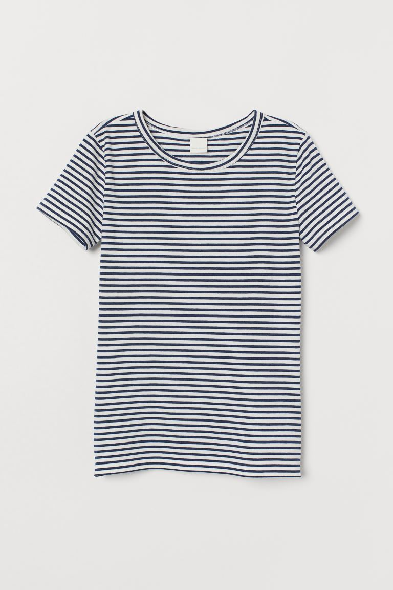 T-shirt - Dark blue/white striped - Ladies | H&M CA
