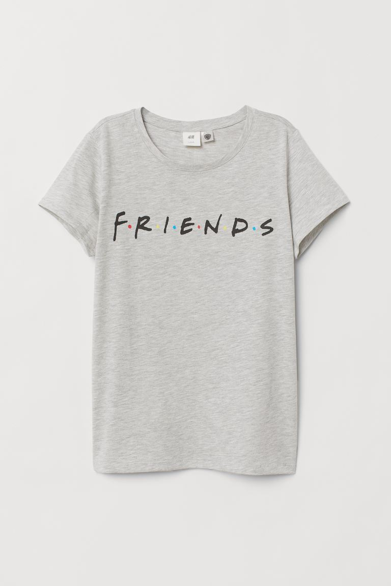 T-shirt with Motif - Gray melange/Friends - Ladies | H&M US