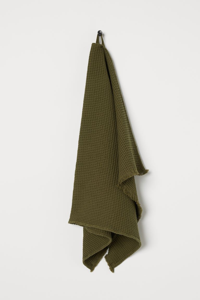 Waffled hand towel - Khaki green - Home All | H&M GB