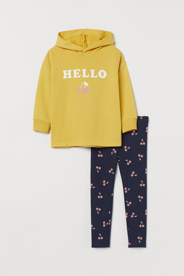 2-piece printed set - Yellow/Cherries - Kids | H&M GB