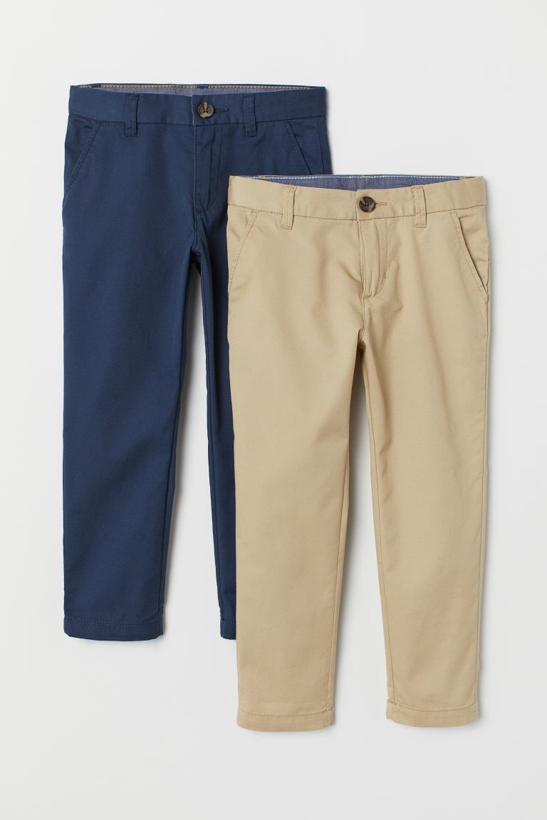 2-pack cotton chinos - Dark blue/Beige - Kids | H&M IN