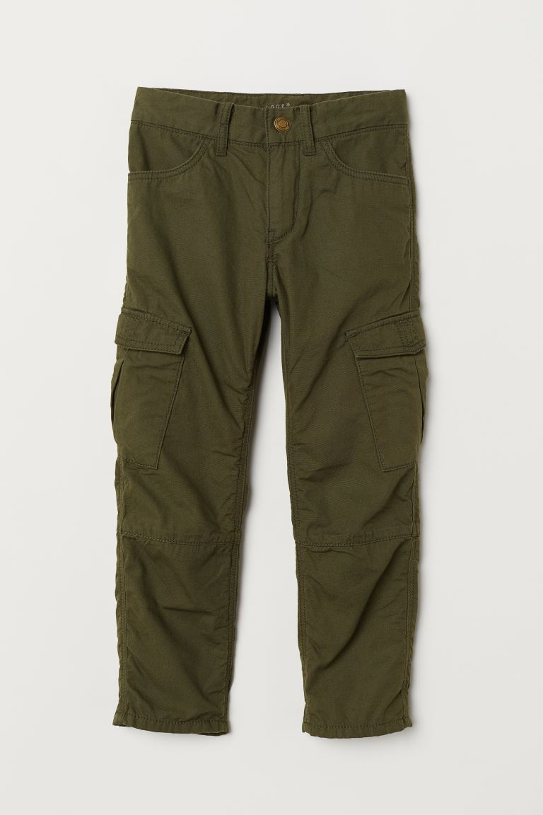 Lined cargo trousers - Khaki green -  | H&M