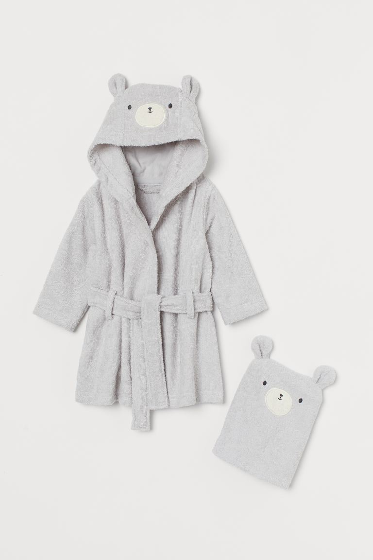 Dressing gown and flannel - Light grey/Bear - Kids | H&M