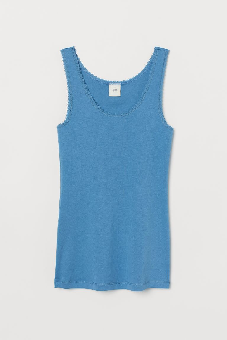 Vest top with lace trims - Blue - Ladies | H&M