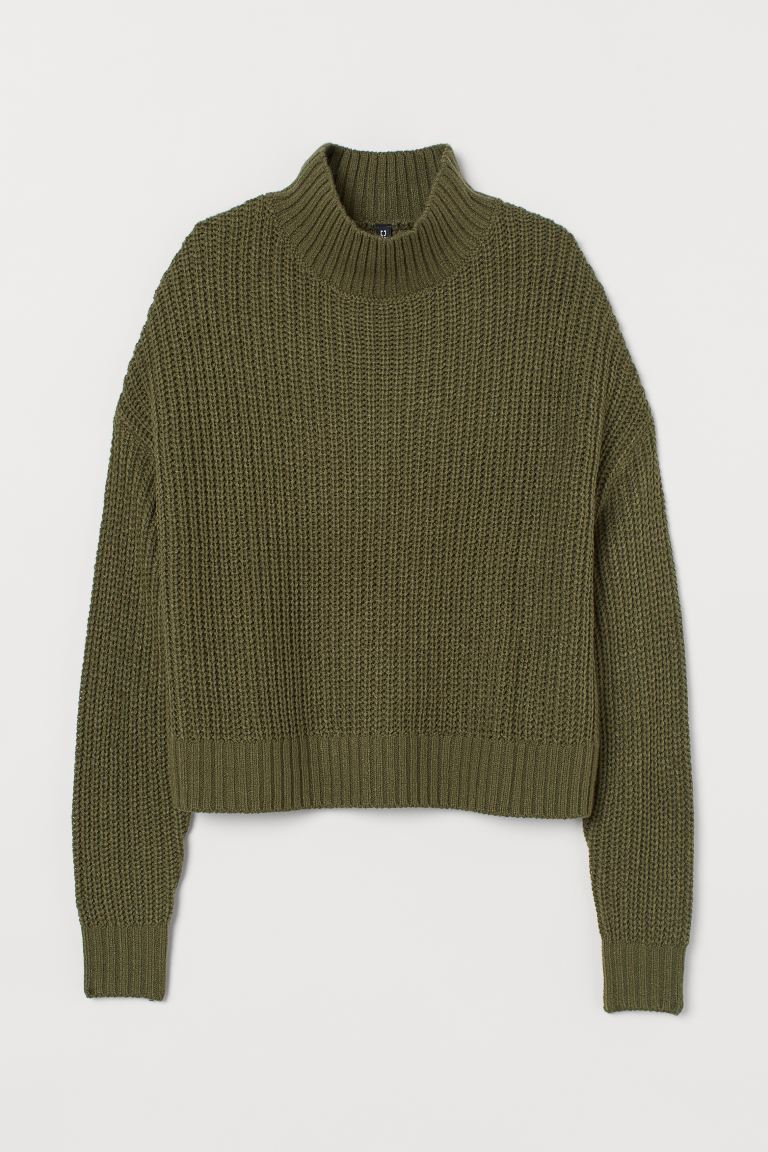 Turtleneck jumper - Khaki green - Ladies | H&M GB