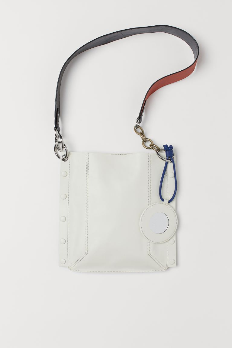 Leather Shoulder Bag - White/black -  | H&M US