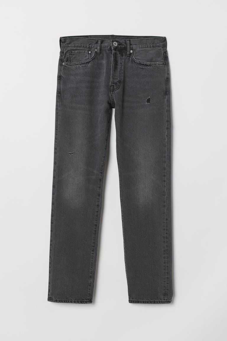 Straight Jeans - Noir washed out - HOMME | H&M BE