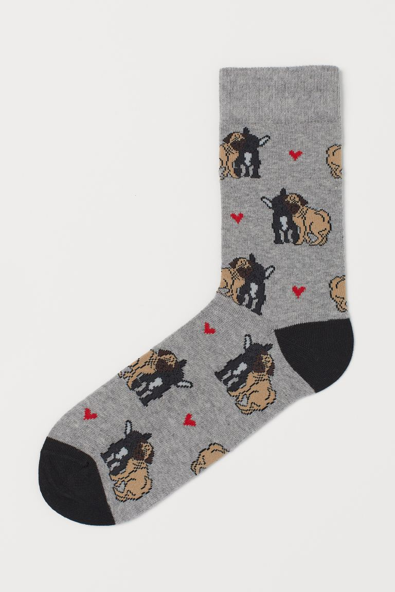 Patterned socks - Grey marl/Dogs - Men | H&M