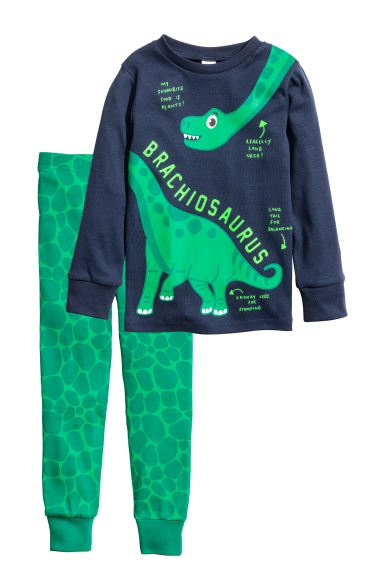 Pigiama in jersey - Blu scuro/dinosauri - BAMBINO | H&M IT