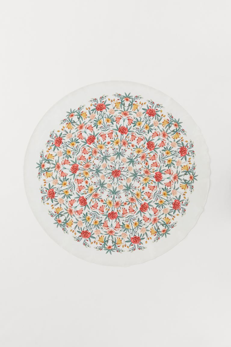 Round Cotton Tablecloth - White/flowers - Home All | H&M CA