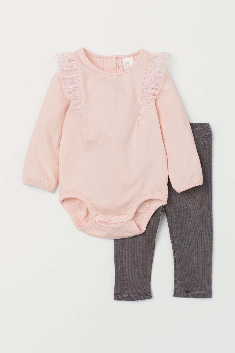 Bodysuit and leggings - Light pink/Dark grey -    H&M GB