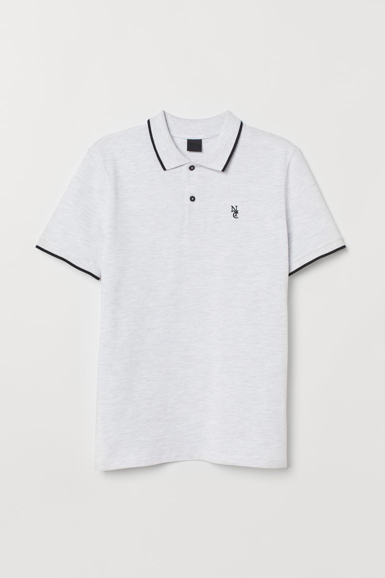 Polo Shirt - Light gray melange - Men | H&M US