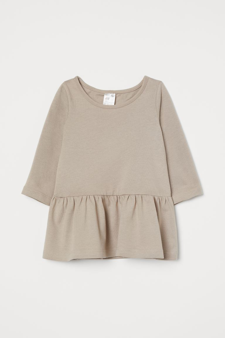 Flounced jersey dress - Light beige marl - Kids | H&M