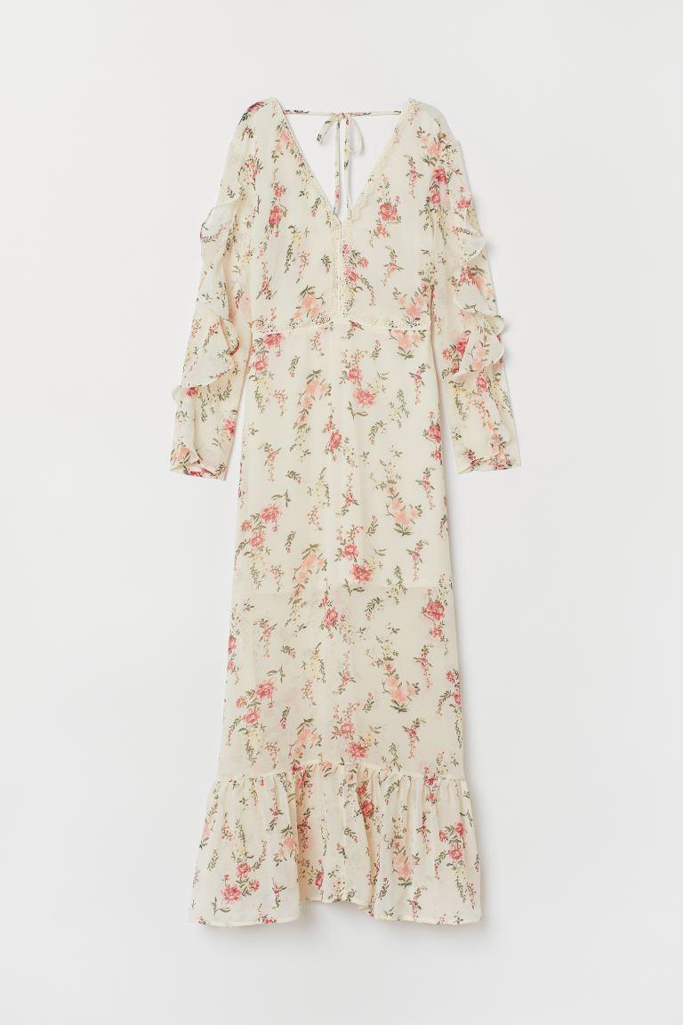 Verbazingwekkend Maxi-jurk met V-hals - Gebroken wit/bloemen - DAMES | H&M NL ZL-04