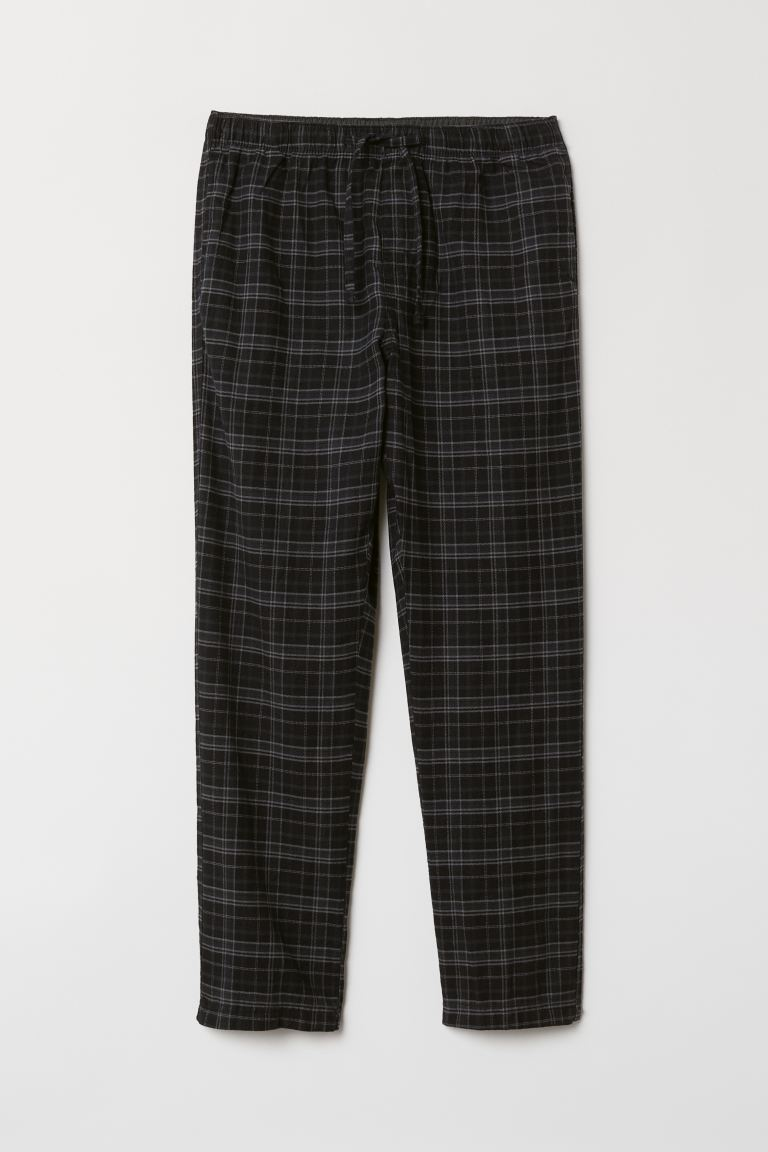 Flannel Pajama Pants - Black/gray checked - Men | H&M US