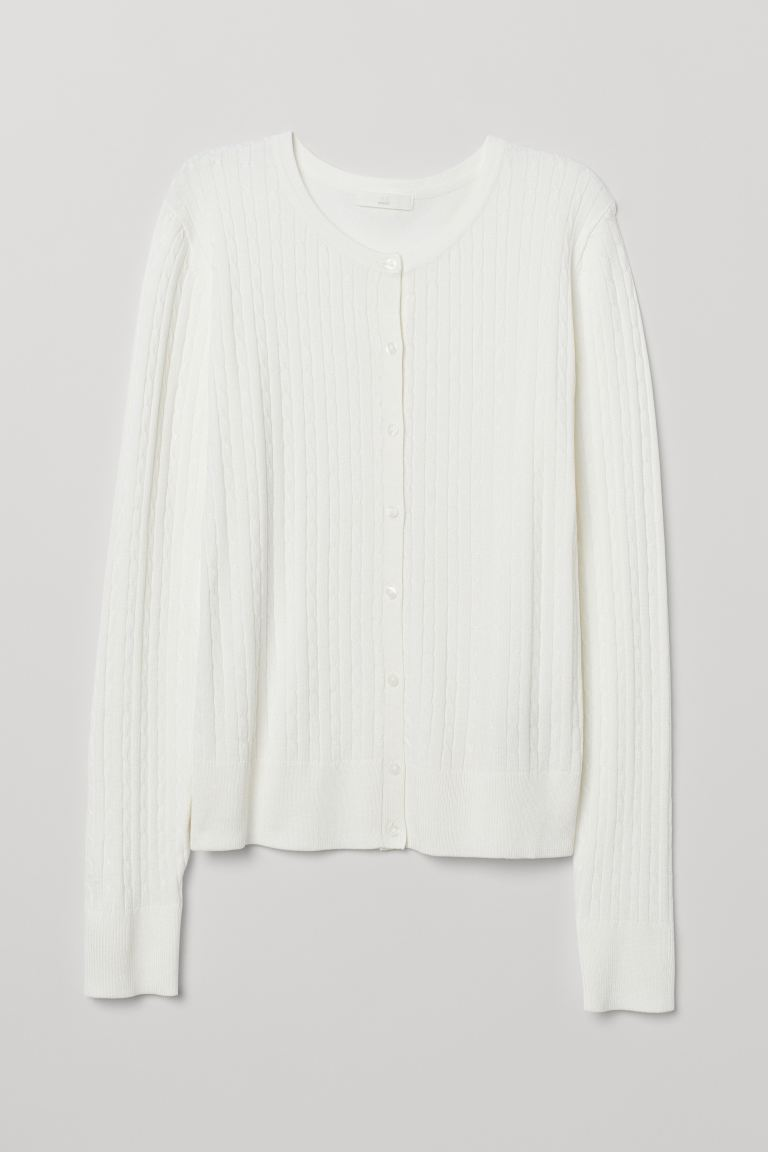 Cable-knit cardigan - White - Ladies | H&M