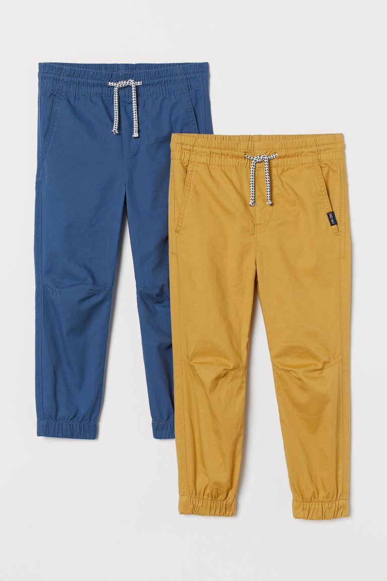 2-pack cotton twill joggers - Blue/Mustard yellow -    H&M GB