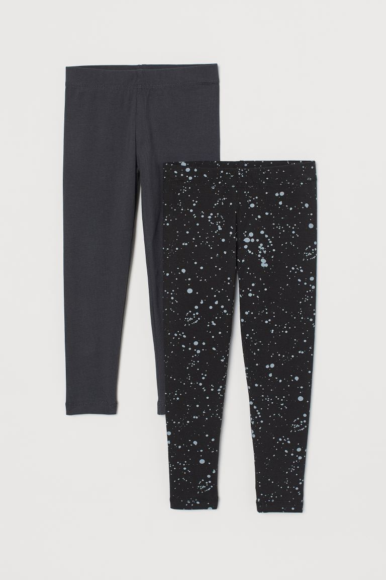 2-pack leggings - Black/Patterned - Kids | H&M