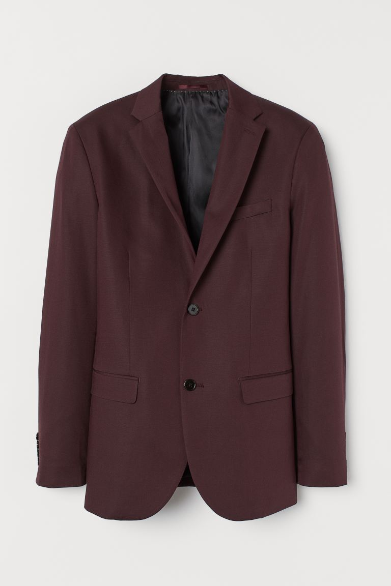 Linen-blend jacket Slim Fit - Burgundy - Men | H&M