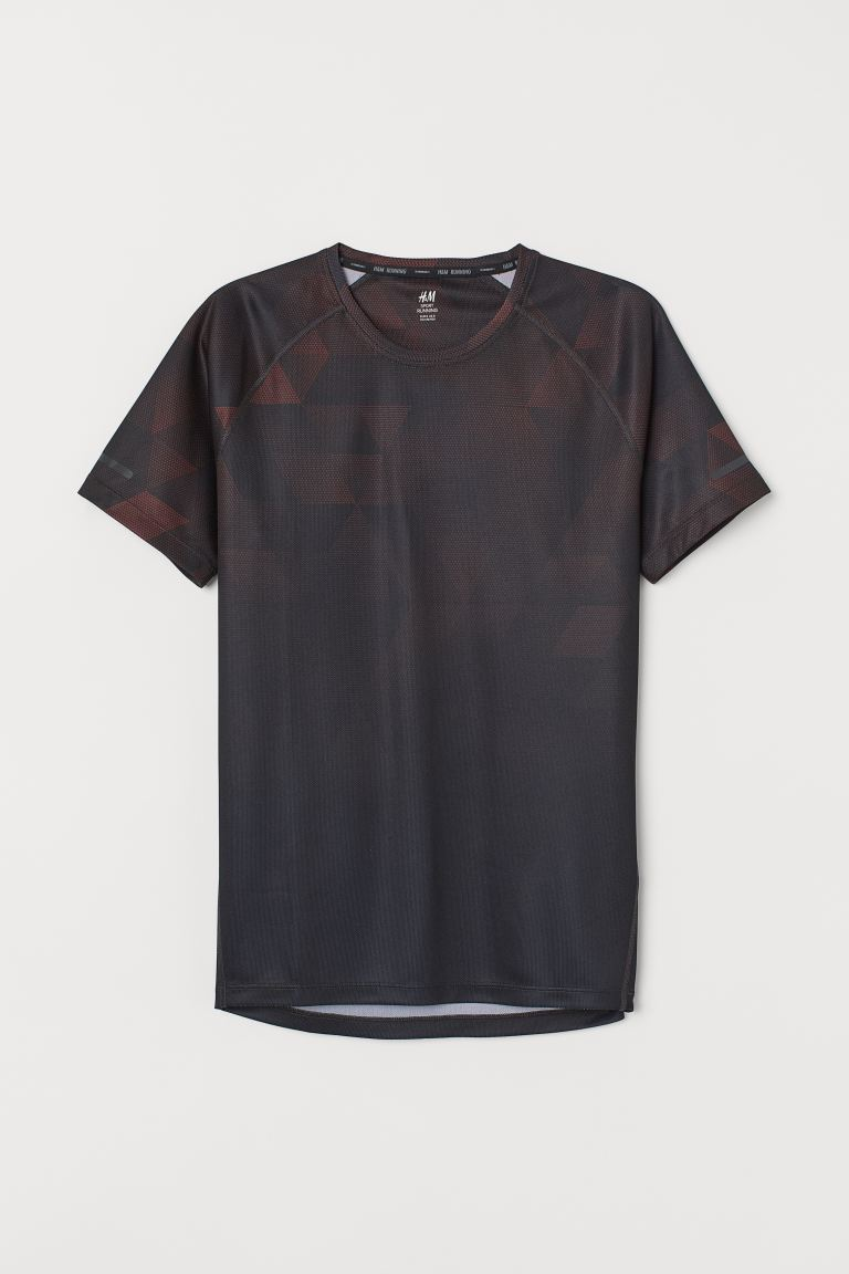 Regular Fit Running Shirt - Black/brown patterned -  | H&M US