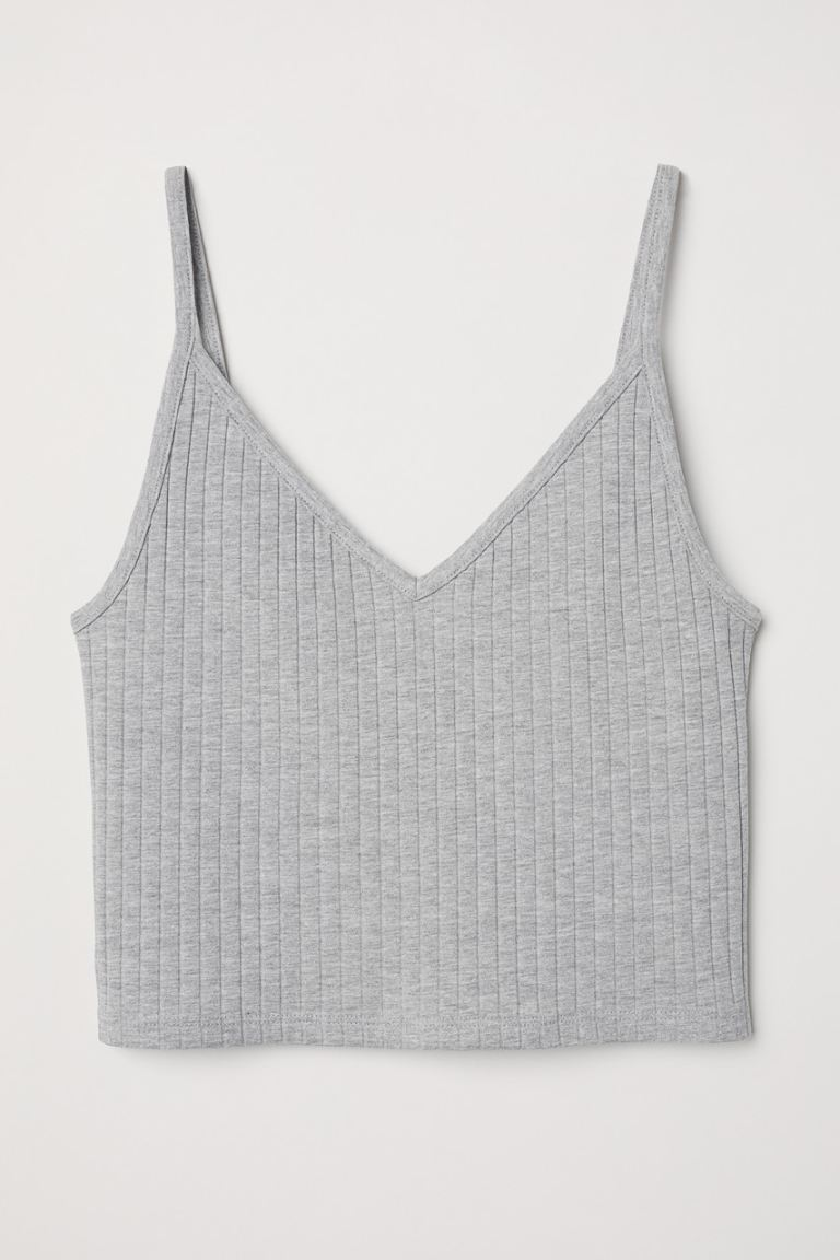 Cropped jersey strappy top - Grey marl - Ladies | H&M GB