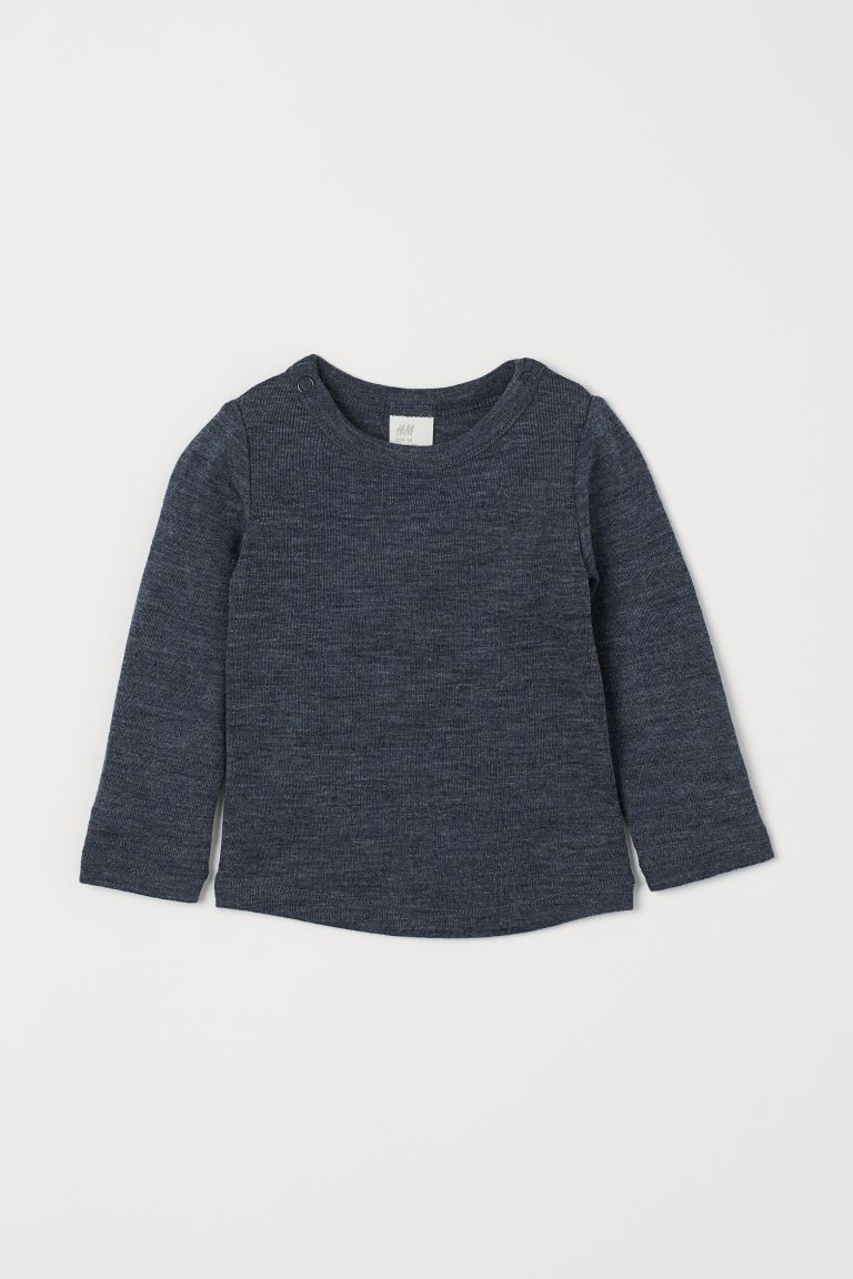 Wool Top - Dark blue melange - Kids | H&M US