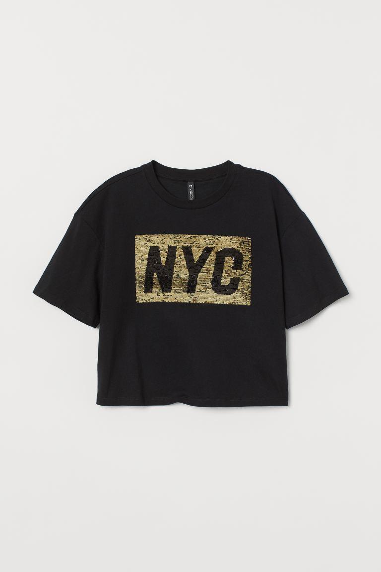 Short T-shirt - Black/Reversible sequins - Ladies | H&M GB