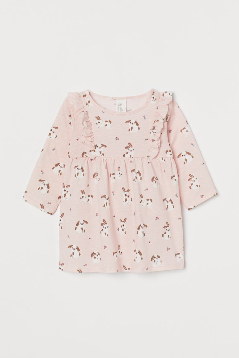 Frill-trimmed jersey dress - Light pink/Rabbits -  | H&M