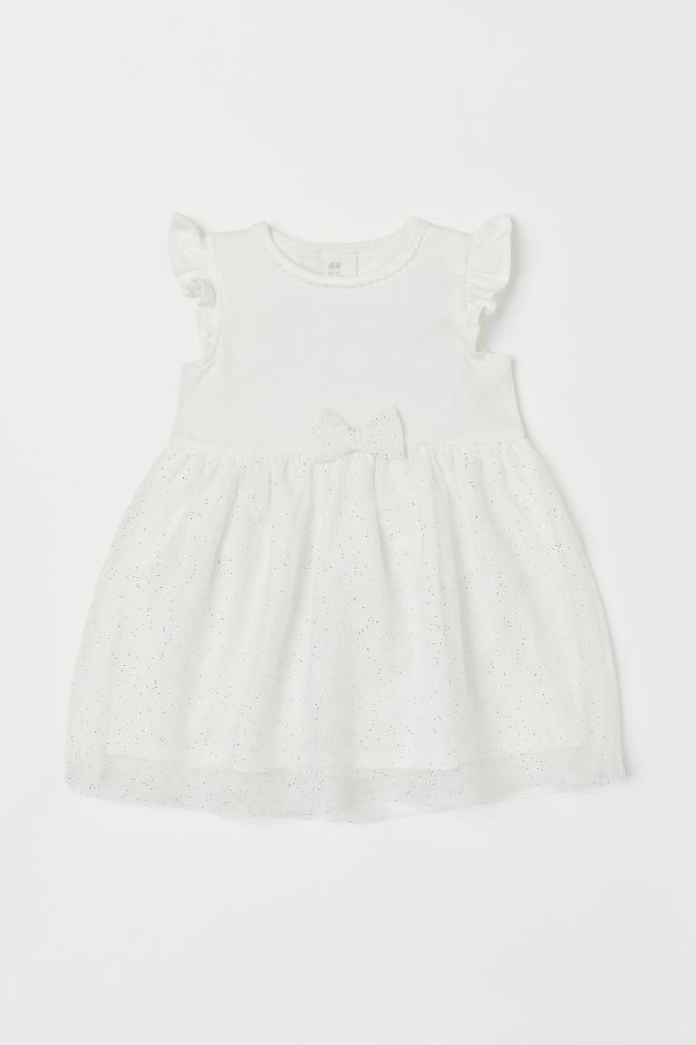 Dress with a tulle skirt - White - Kids | H&M IN