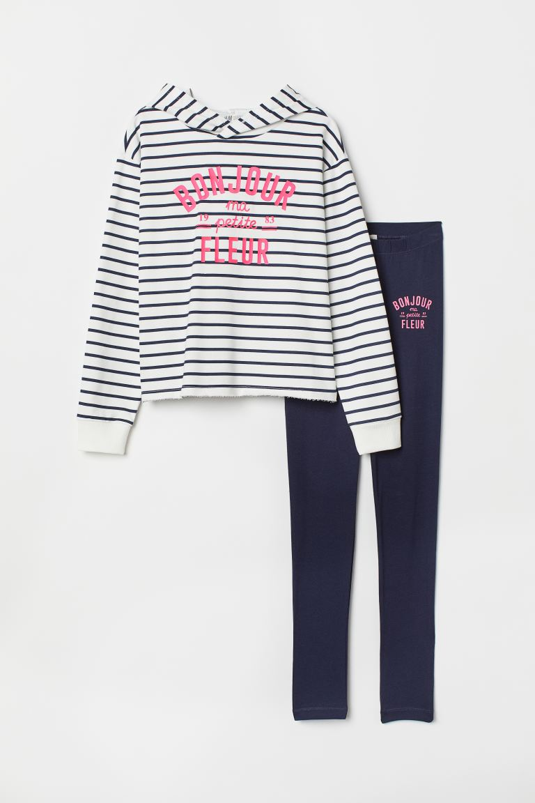 Hooded top and leggings - White/Striped - Kids | H&M GB