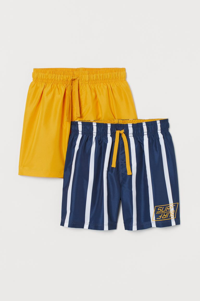 2-pack swim shorts - Yellow/Striped - Kids | H&M