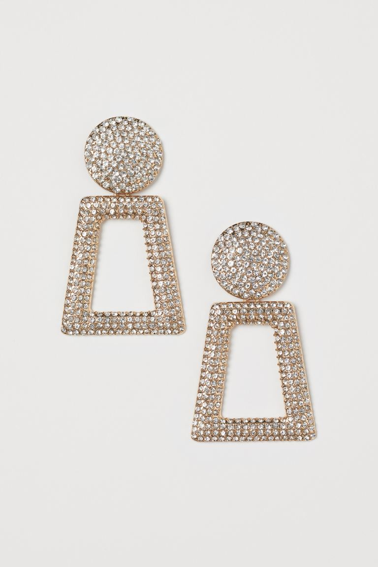Earrings with Rhinestones - Gold-colored - Ladies | H&M US