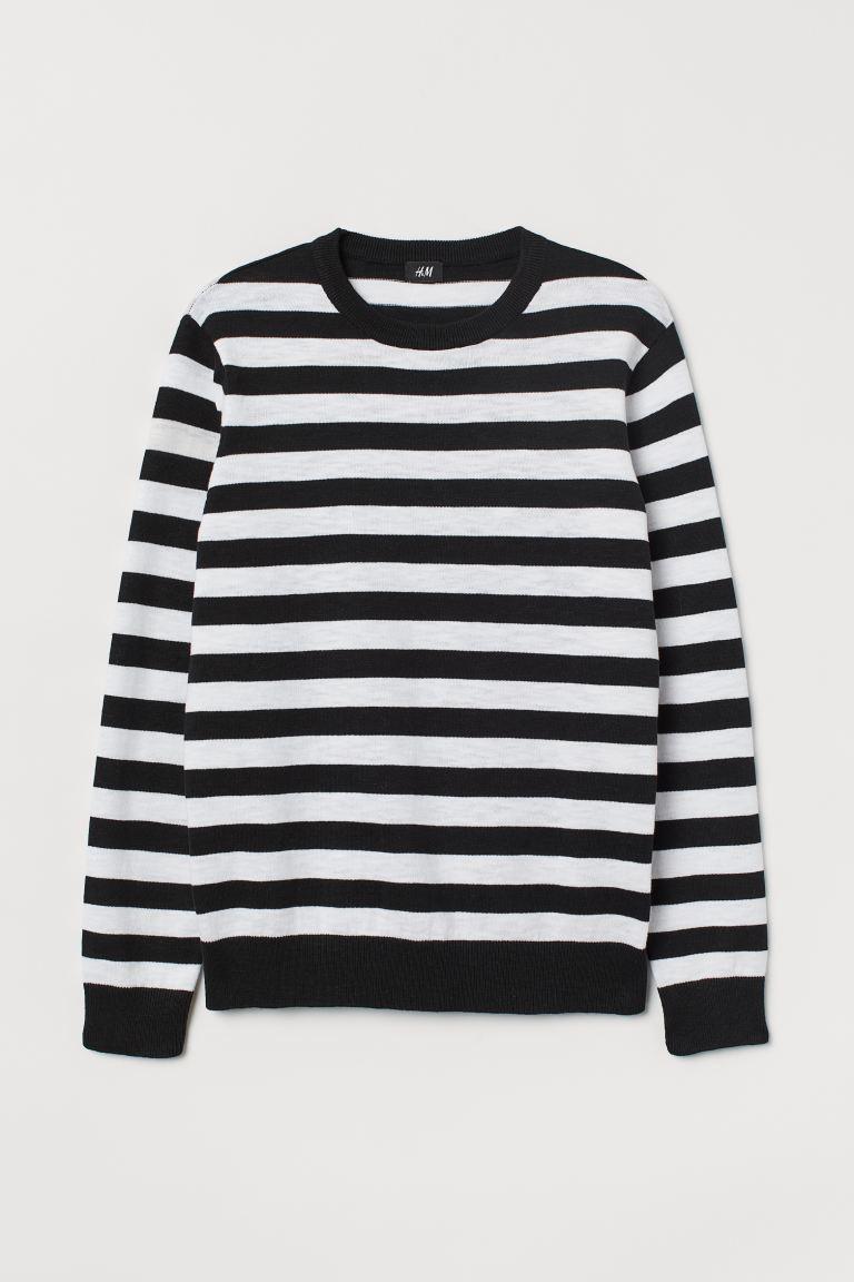 Fine Knit Cotton Sweater Black White Striped Men H M Us