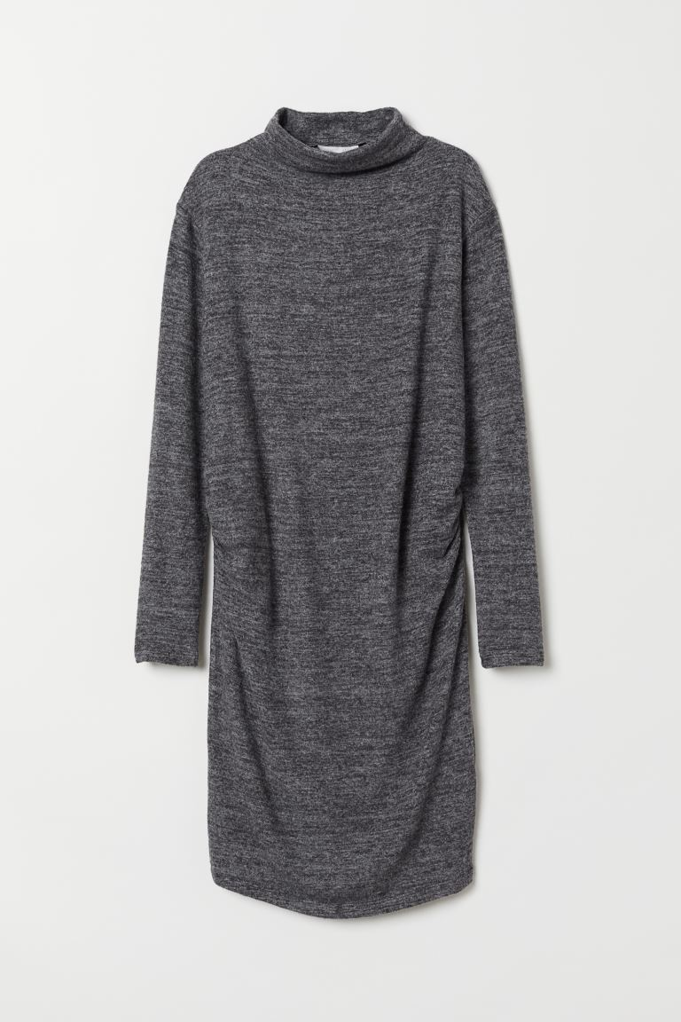 MAMA Fine-knit Dress - Dark gray melange - Ladies | H&M US