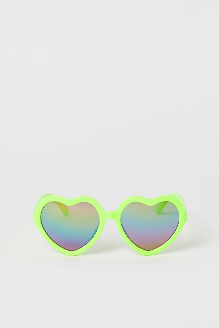 Heart-shaped sunglasses - Neon yellow - Kids | H&M