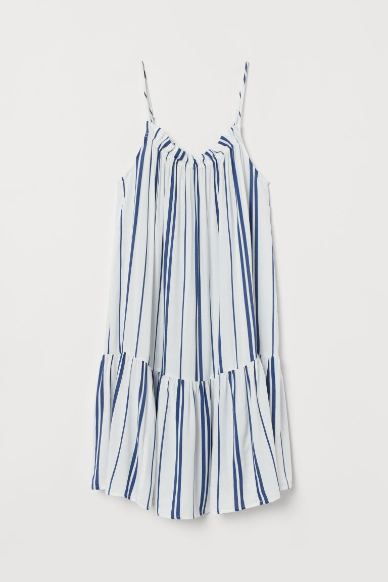 Flounced dress - White/Blue striped - Ladies | H&M IN