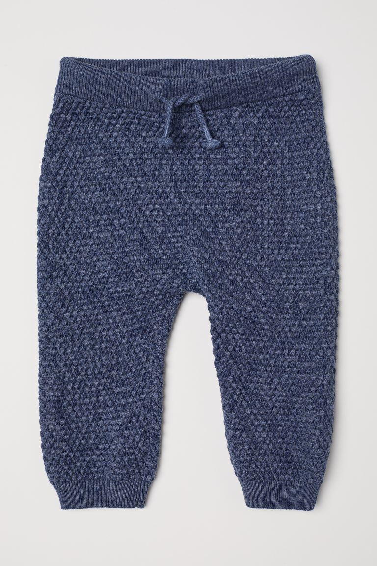 Textured-knit trousers - Blue marl - Kids | H&M