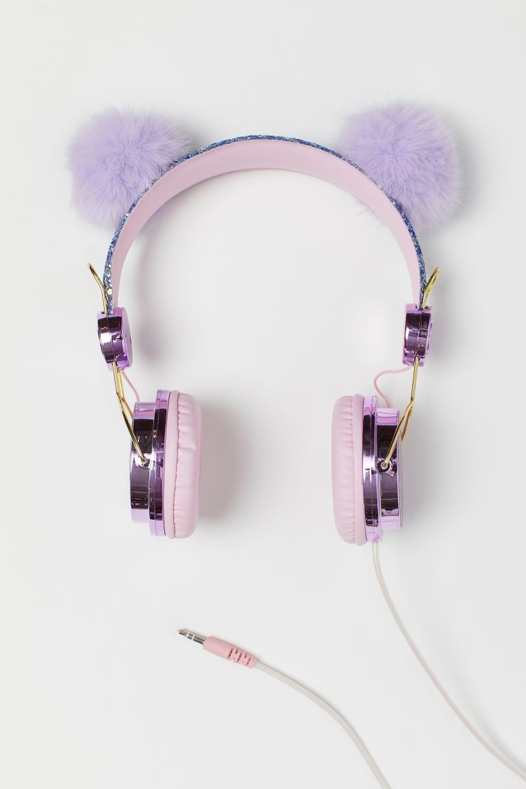 On ear-høretelefoner - Lilla glitter/Pompom - BARN | H&M NO