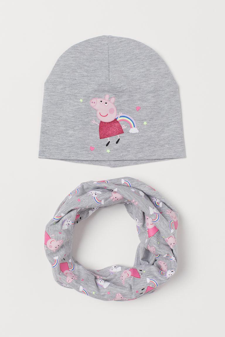 2-piece jersey set - Light grey marl/Peppa Pig - Kids | H&M GB