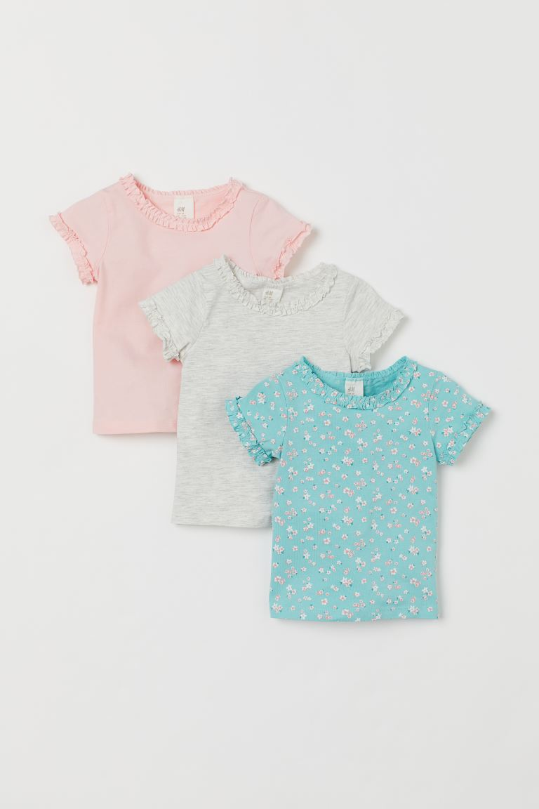 3-pack Cotton T-shirts - Turquoise/floral - Kids | H&M CA