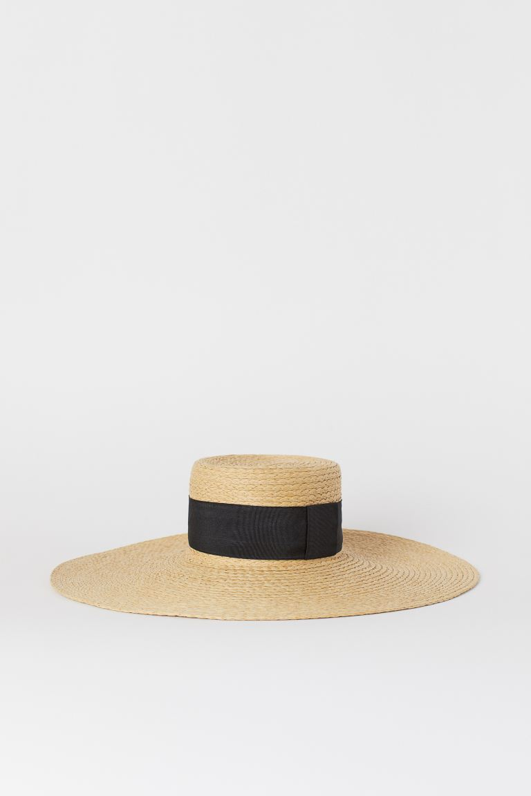 Paper straw sun hat - Natural/Black - Ladies | H&M GB