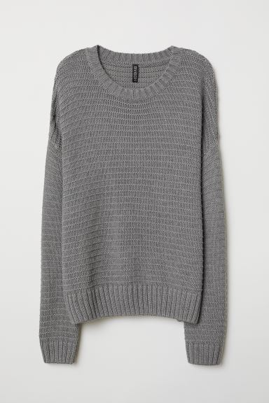 Textured-knit Sweater - Dark gray - Ladies | H&M US