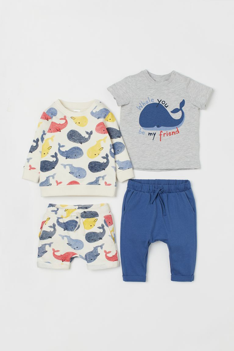 4-piece set - Natural white/Whales - Kids | H&M