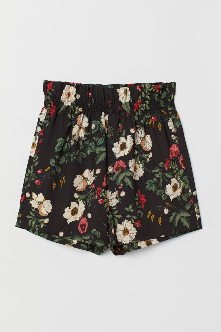 Paper-bag Shorts - Black/floral - Ladies | H&M CA