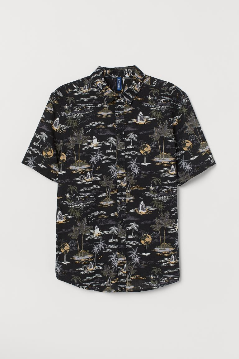 Patterned Cotton Shirt - Black/sharks - Men | H&M US