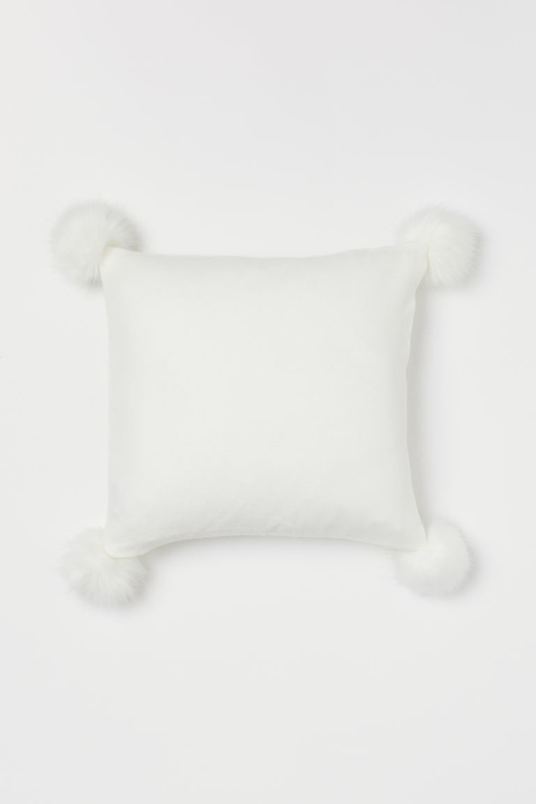 Copricuscino con pon-pon - Crema - HOME | H&M IT